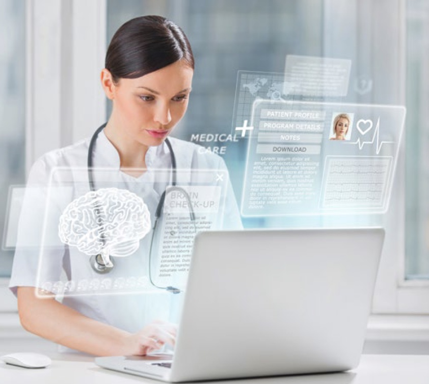 Healthcare professional working on medical records