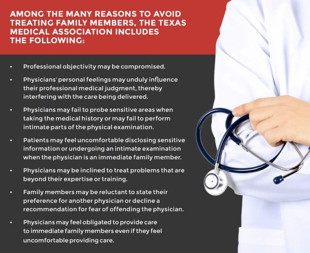 AMONG THE MANY REASONS TO AVOID TREATING FAMILY MEMBERS, THE TEXAS MEDICAL ASSOCIATION INCLUDES   THE FOLLOWING