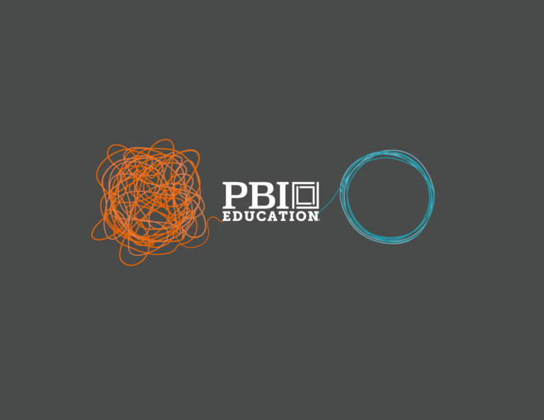Orange ball of string going into PBI logo and blue circle of string coming out of PBI logo