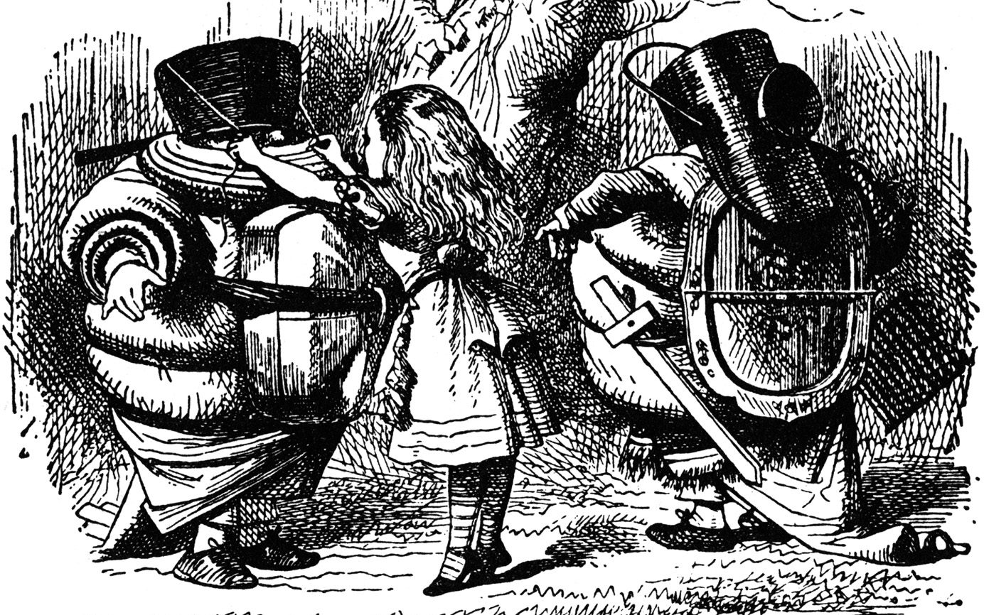John Tenniel's original illustrations of Tweedledee and Tweedledum, as they appeared in Lewis Carroll's Through the Looking Glass (And What Alice Found There) (1871).